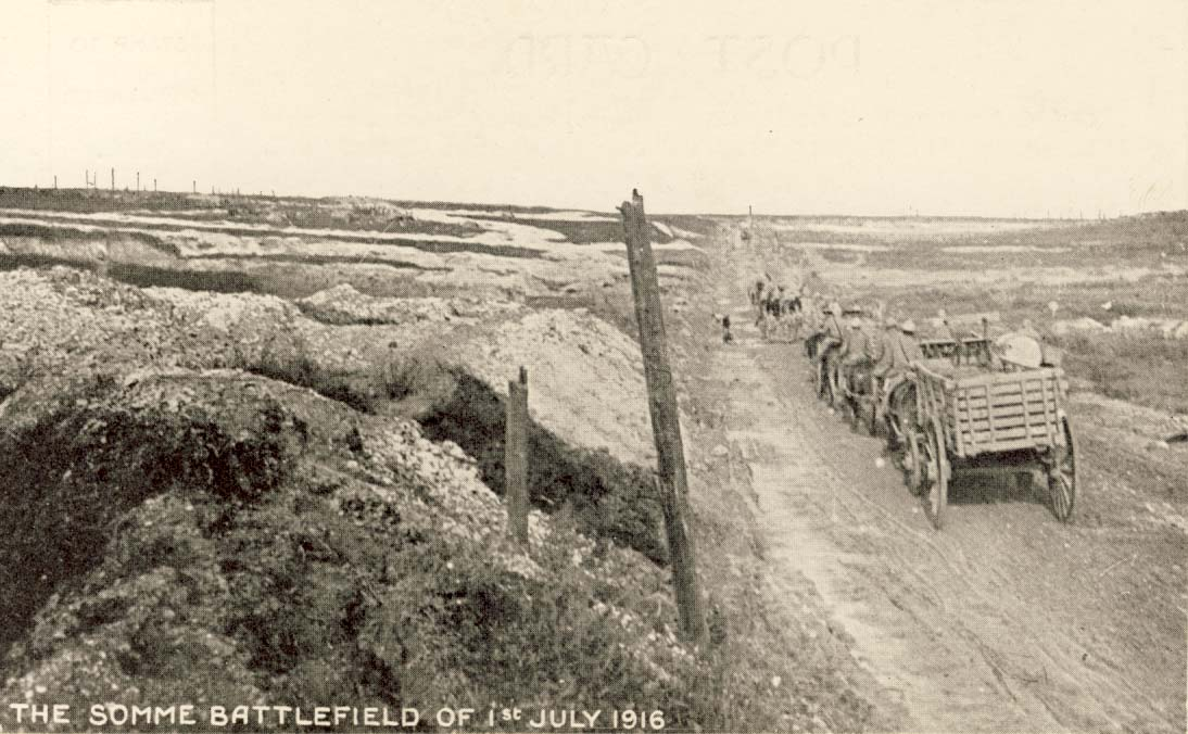 The Somme battlefield of 1st July 1916 postcard