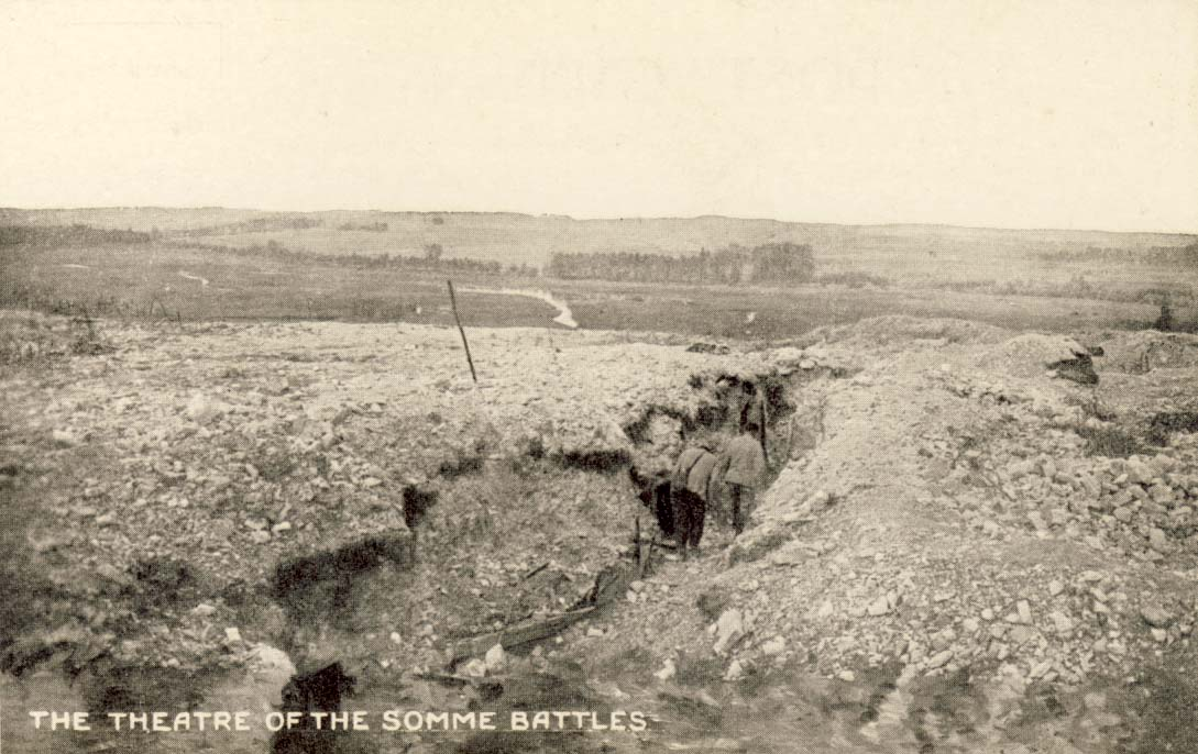 The theatre of the Somme battles postcard