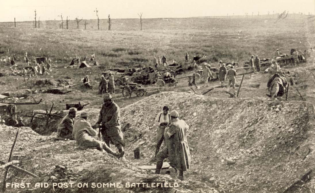 First aid post on Somme battlefield postcard