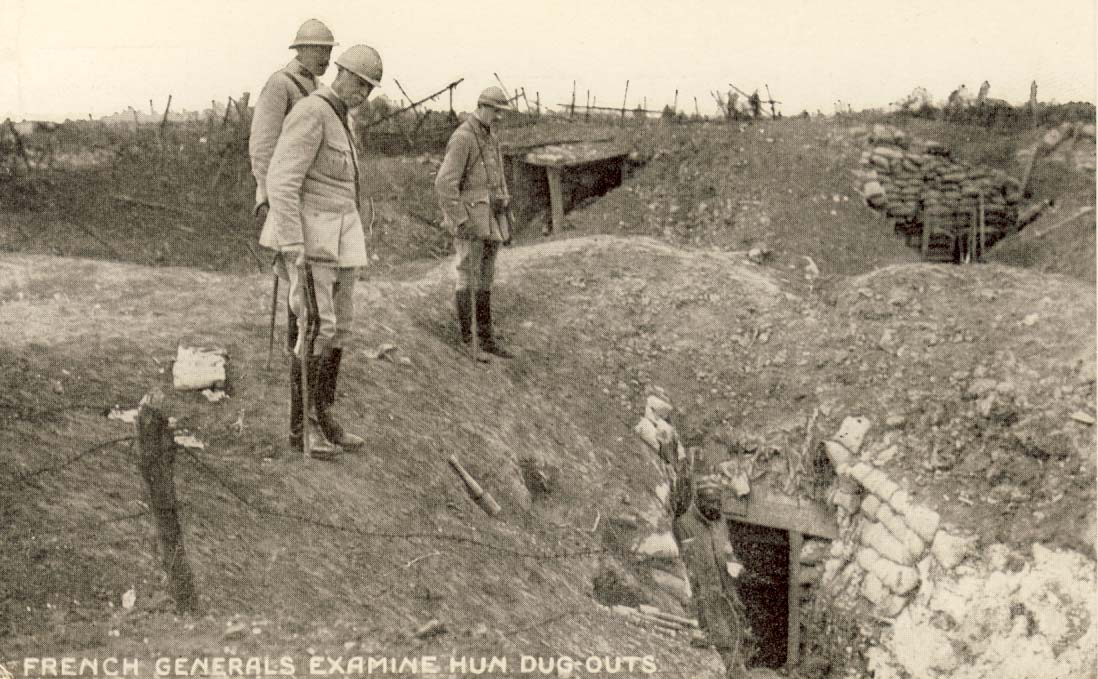 French generals examine Hun dug-outs postcard
