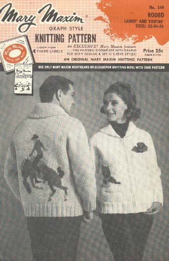 Mary Maxim graph style knitting pattern: rodeo , c1956