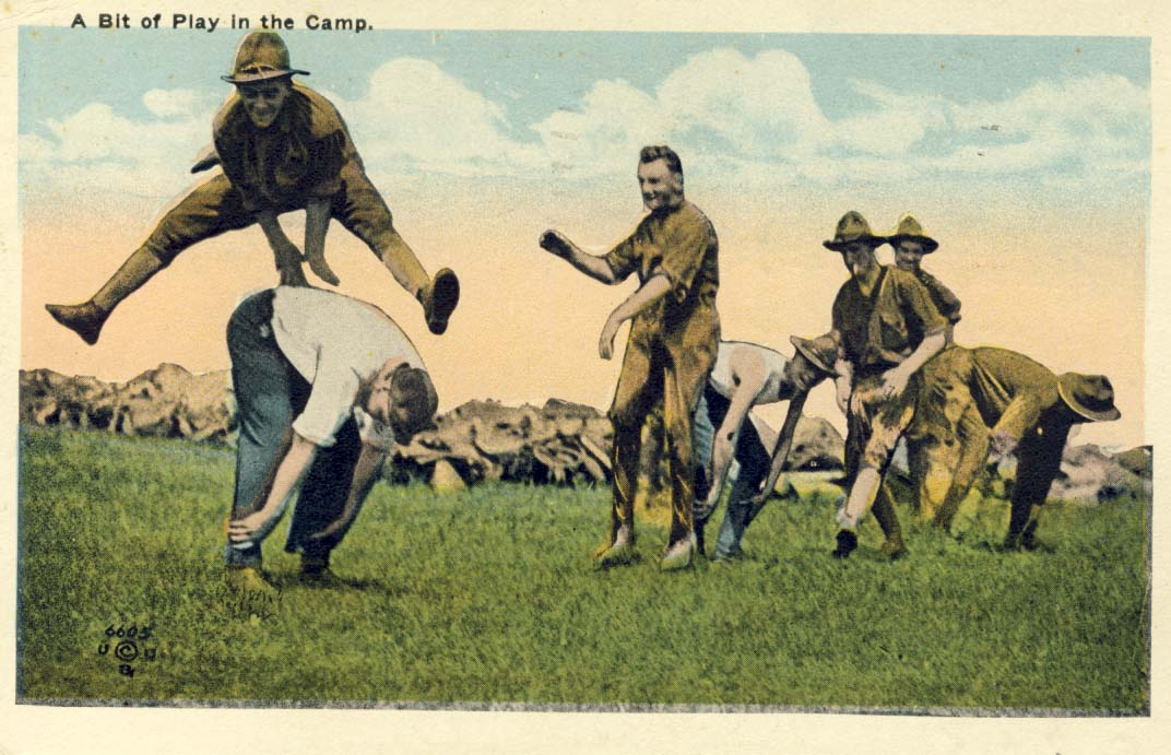 A bit of play in the camp postcard