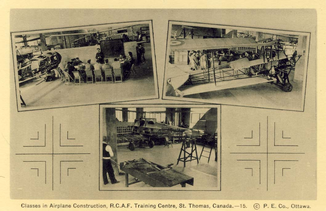 Classes in airplane construction, R.C.A.F. Training Centre, St. Thomas, Canada postcard