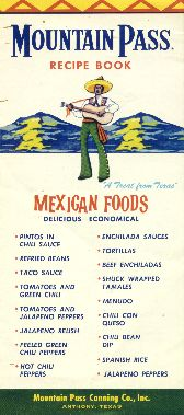 Mountain Pass recipe book: Mexican foods. 1960s.