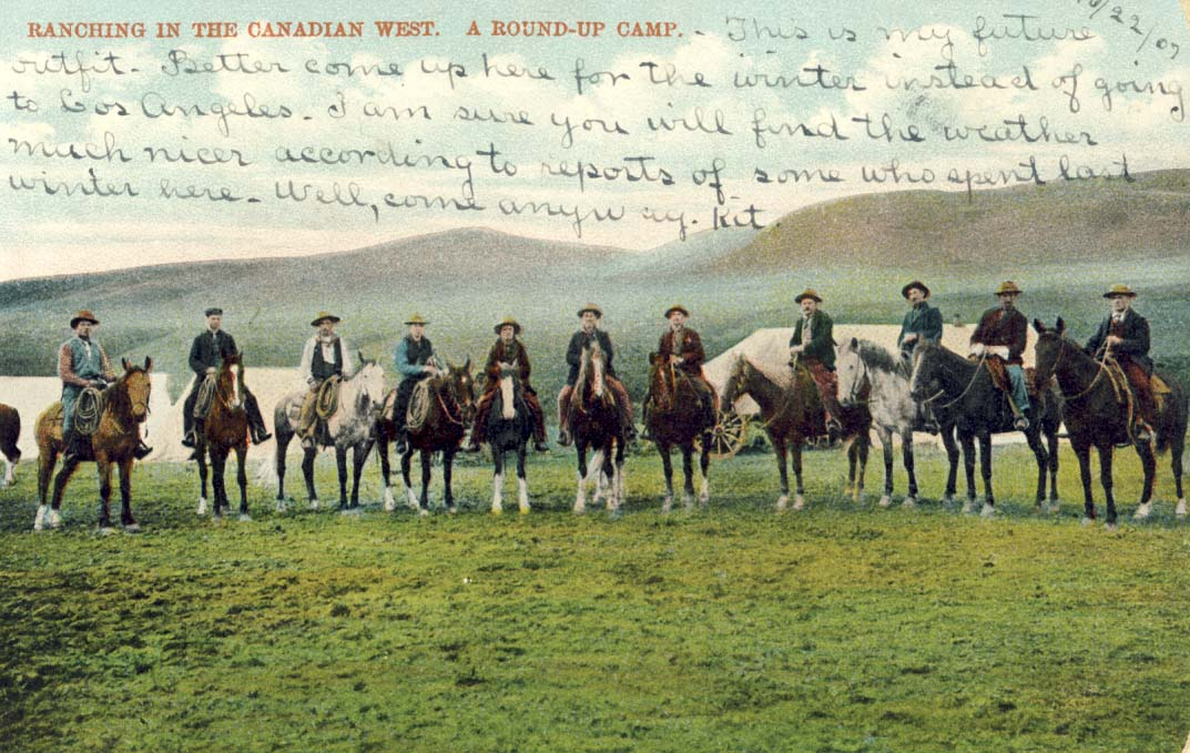 Ranching in the Canadian west. A round-up camp, postcard