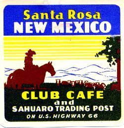 Santa Rosa, NM: Club Cafe and Sahuaro Trading Post,  stamp 1940s.