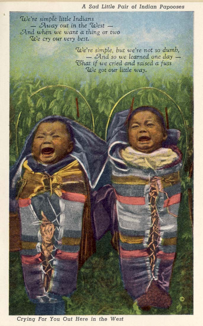A sad little pair of Indian papooses postcard