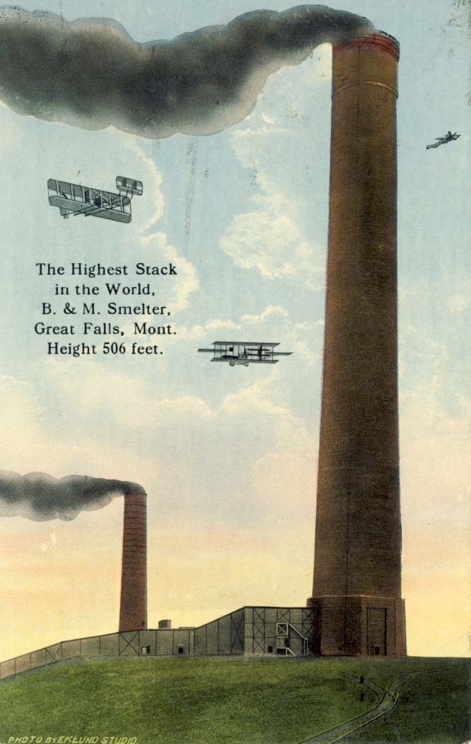 The highest stack in the world, B. & M. Smelter, Great Falls, Montana postcard
