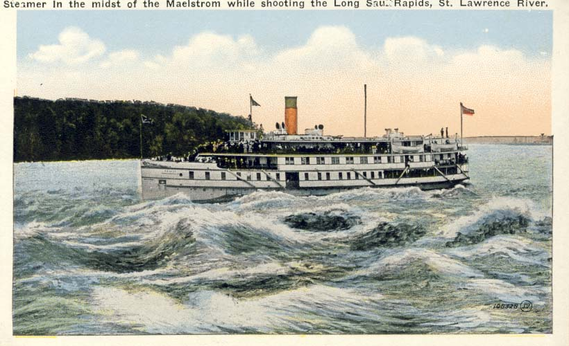 Steamer in the midst of the maelstrom while shooting the Long Sault Rapids. postcard