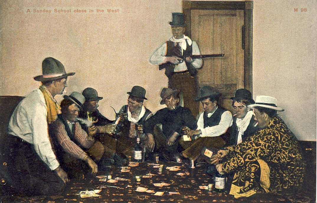 A Sunday school class in the west postcard