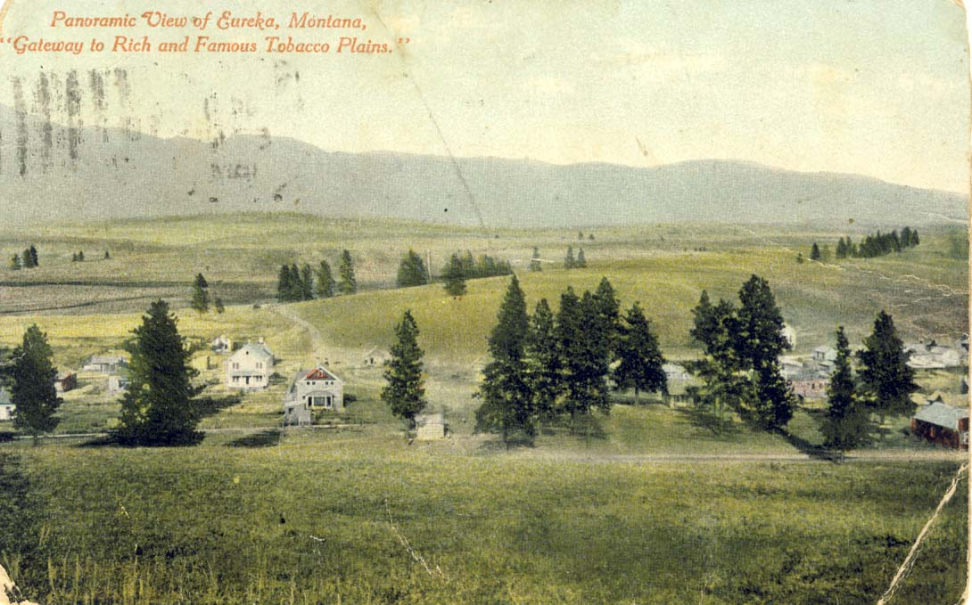 Panoramic view of Eureka, Montana: gateway to rich and famous tobacco plains, postcard