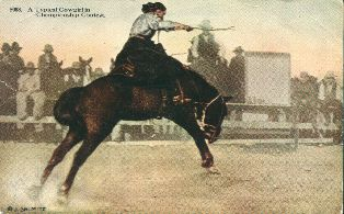 A typical cowgirl,  postcard 1930s.
