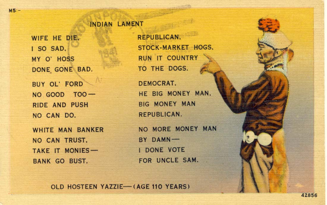 Indian lament, postcard, 1932