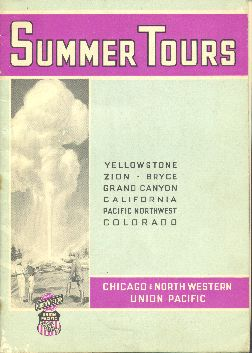 Summer Tours: Yellowstone, Zion, Bryce, brochure cover, 1936.