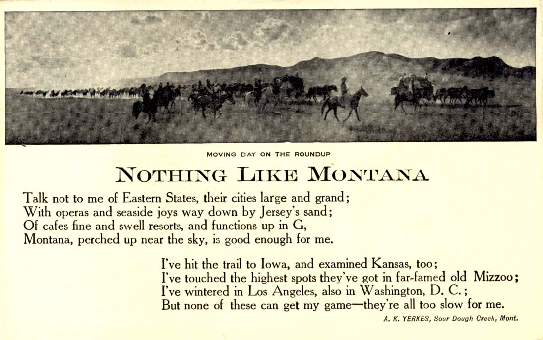 Nothing like Montana: moving day on the roundup postcard